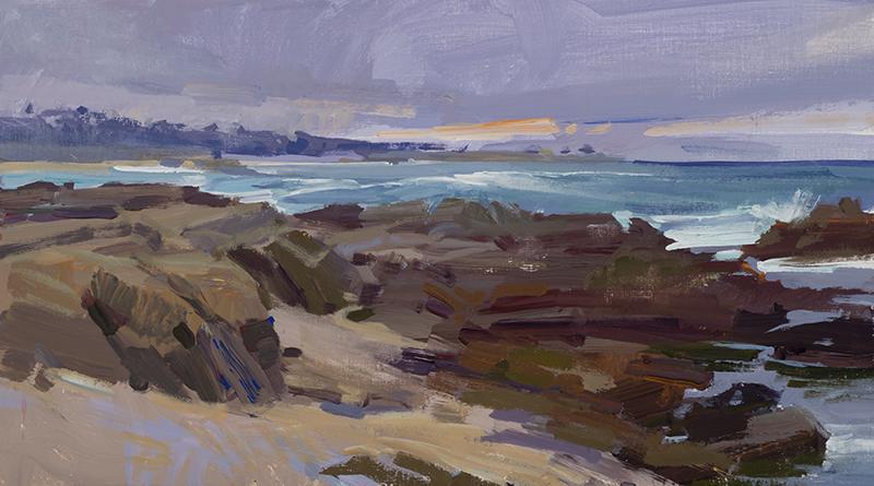"""Marcia Burtt, """"Carmel Coast,"""" acrylic, 10×18 in."""