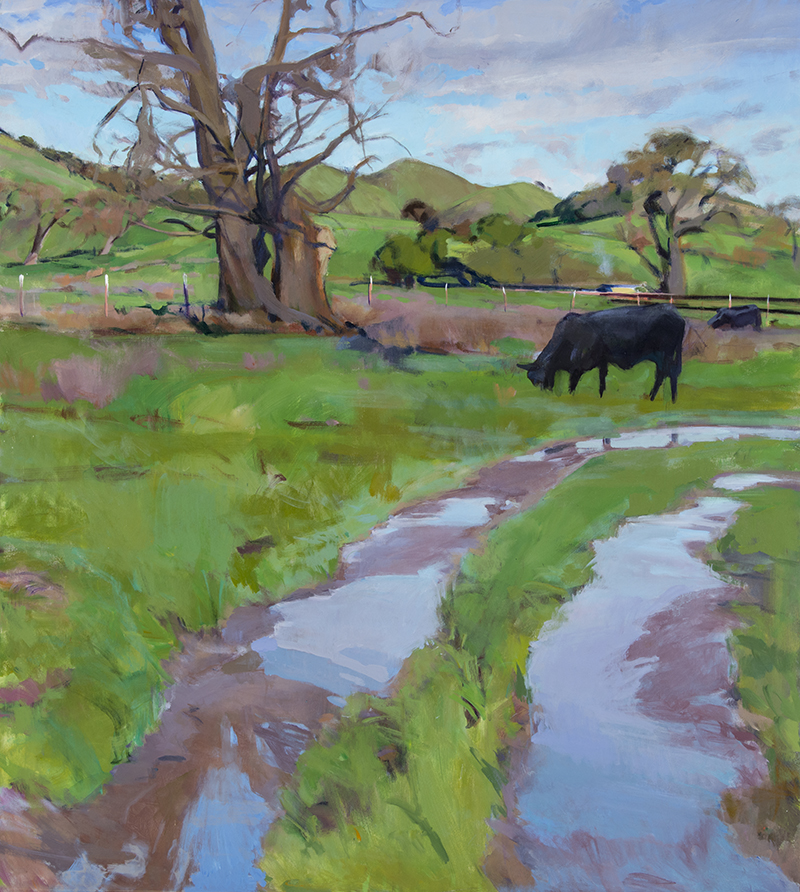 "Marcia Burtt, ""Cows in Winter Pasture,"" acrylic, 40×36 in"