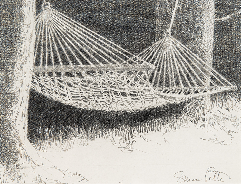 Susan Petty, Hammock, graphite, 6.25×8 in.
