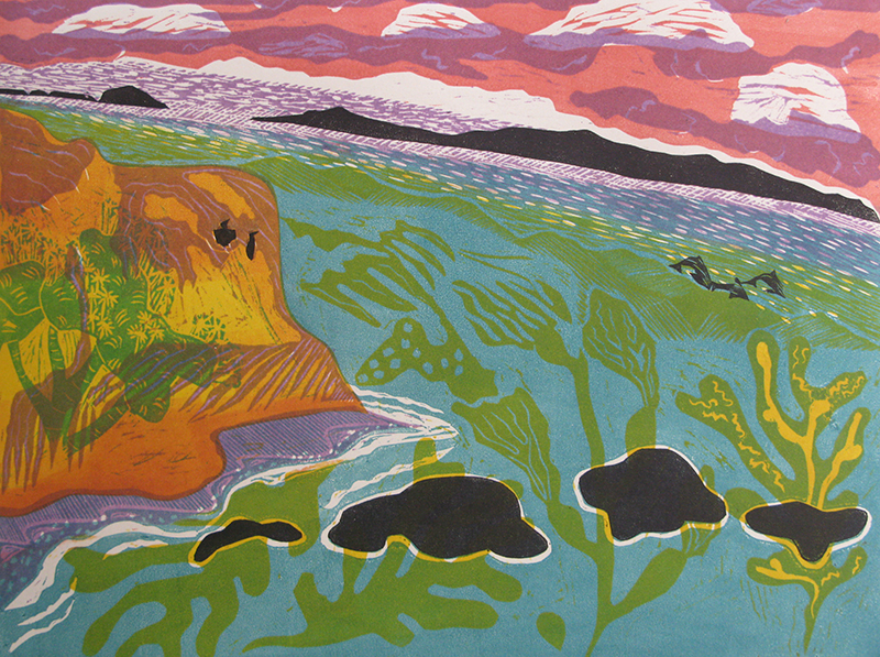 Sara Woodburn, Channel Islands, woodcut, 18×24 in.