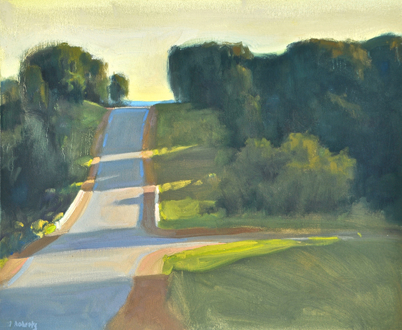 "Ian Roberts, ""Coming into Priceville,"" oil, 20×24 inches"
