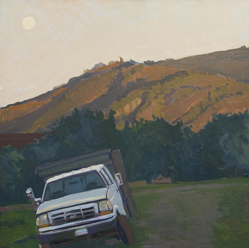 "Robert Abbott, ""Full Moon, Stuck Truck,"" oil, 36×36 in."
