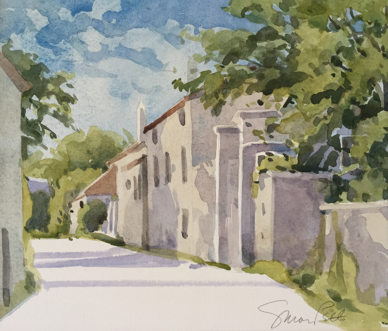 Susan Petty   Untitled (Village II)   watercolor 7.5×9 in.