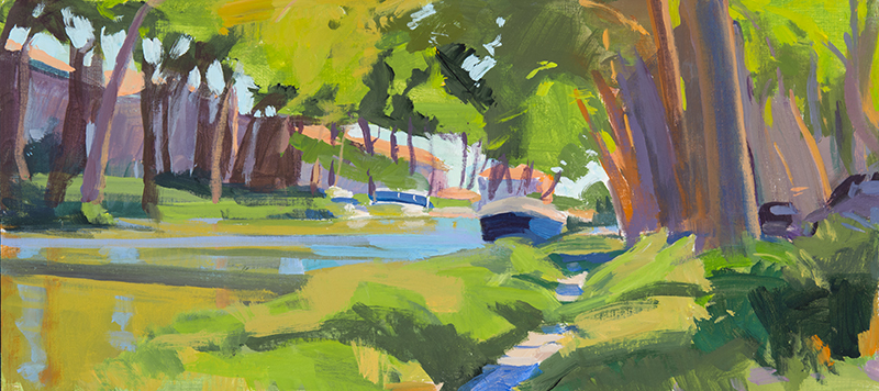 Marcia Burtt   Canal at Salleles d' Aude   acrylic 9×20 in.
