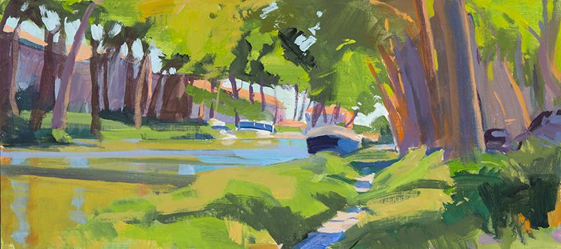 Marcia Burtt   Canal at Salleles d' Aude   acrylic 9×20 in.