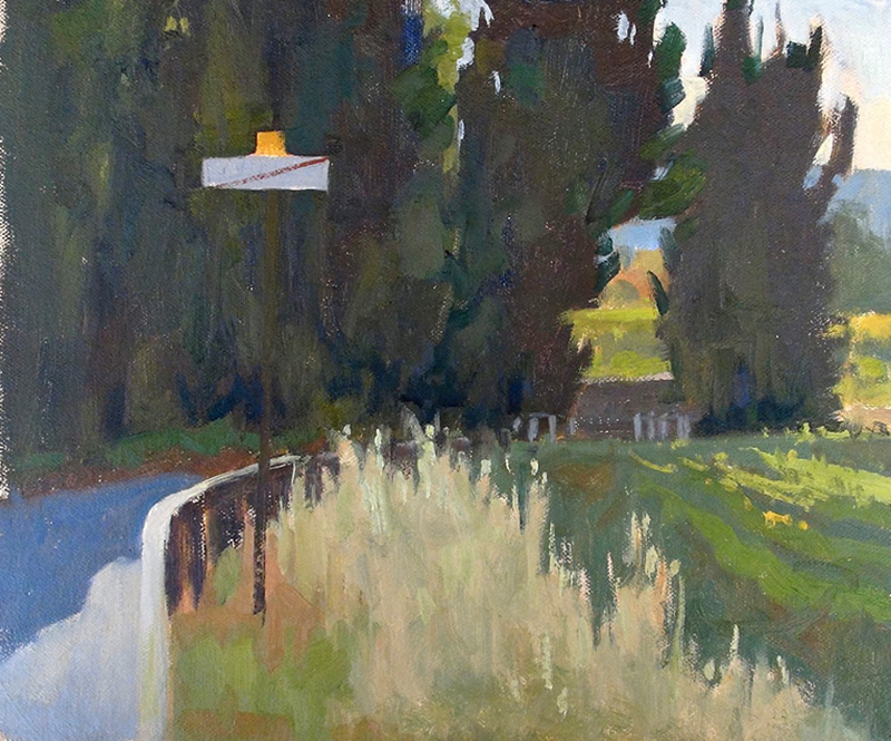 Ian Roberts   Light Through the Cypresses   oil 10×12 in.