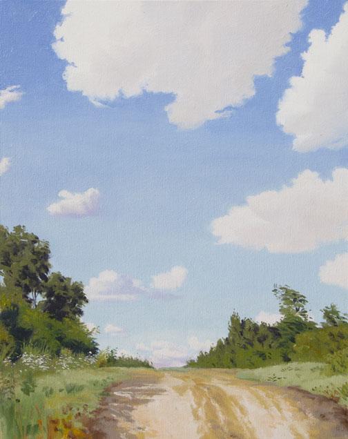 Erling Sjovold   Hilltop Road   oil 20×16