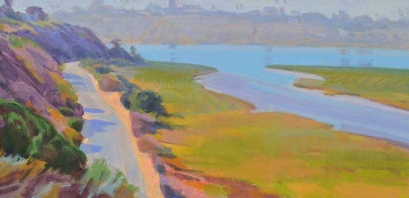 Marcia Burtt   Haze, Back Bay   acrylic, 10 x 20 in.