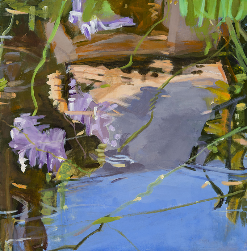 Patricia Doyle, Reflections, Garden Pool, acrylic, 20×20 in.