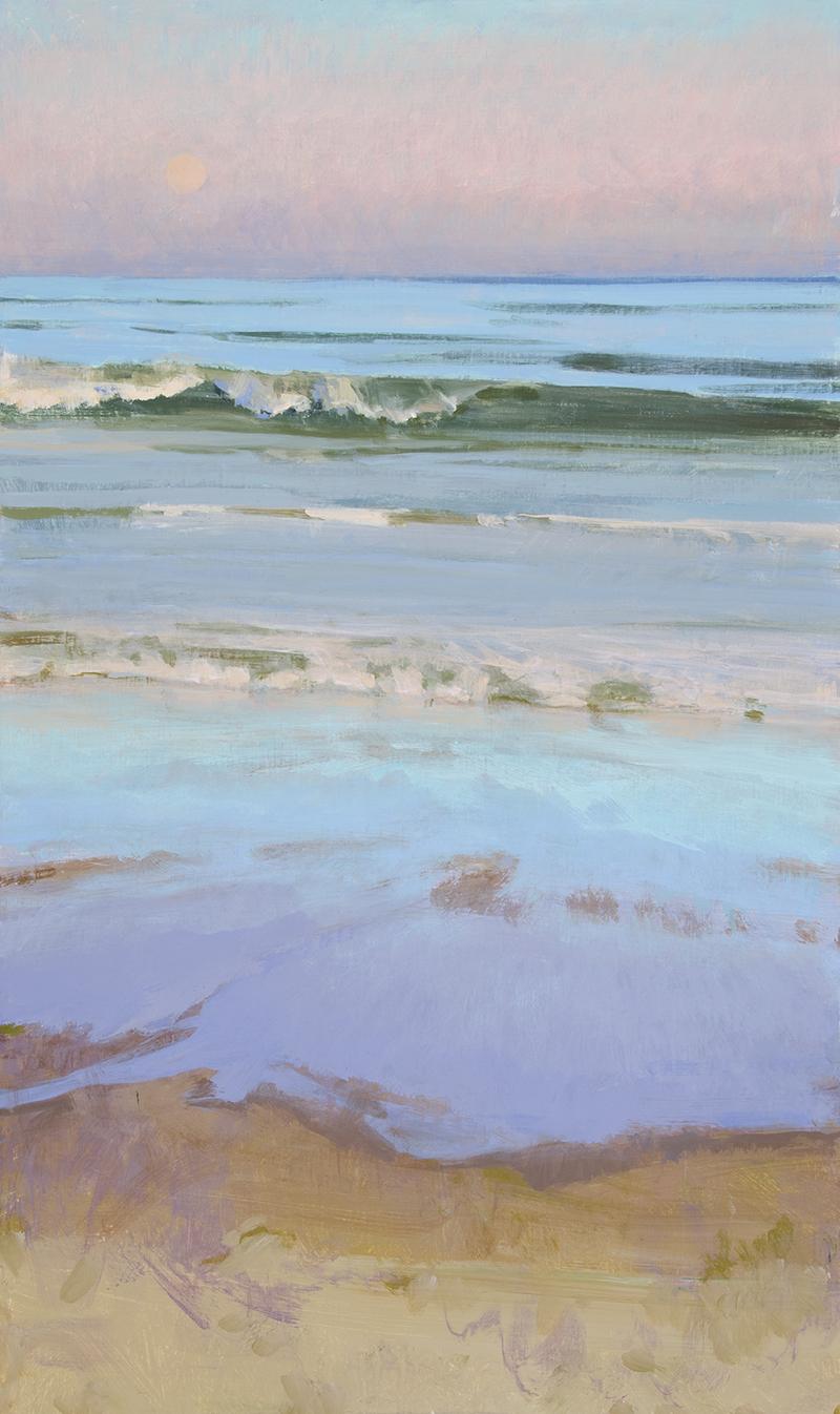 Marcia Burtt, End of Day, Moonrise, acrylic, 30×18 in.