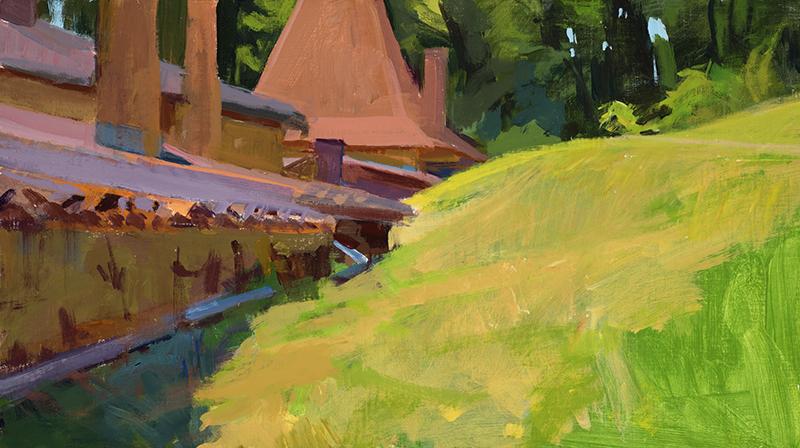 "Marcia Burtt, ""Edge of the Forest,"" acrylic, 10×18 in."