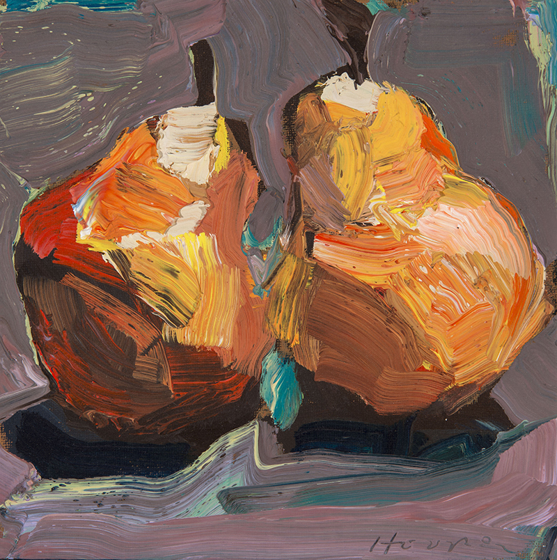 Dana Hooper, Homegrown Pears, oil, 8×8 in.