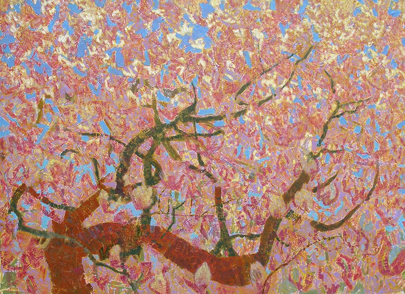 Michael Ferguson, In the Dogwood, acrylic, 31×43 in.