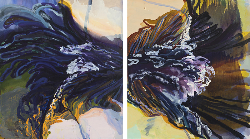 Erling Sjovold, Butterfly Current, acrylic and oil, diptych: two 34×30 in.