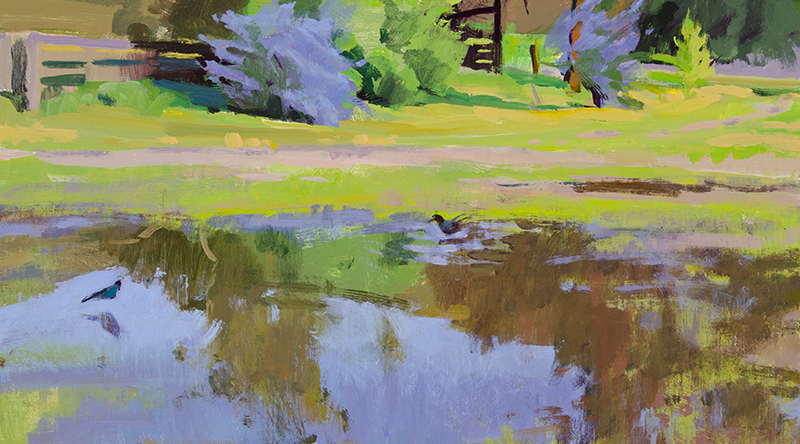 Marcia Burtt,  Magpies in the Puddle , acrylic, 10×18 in.