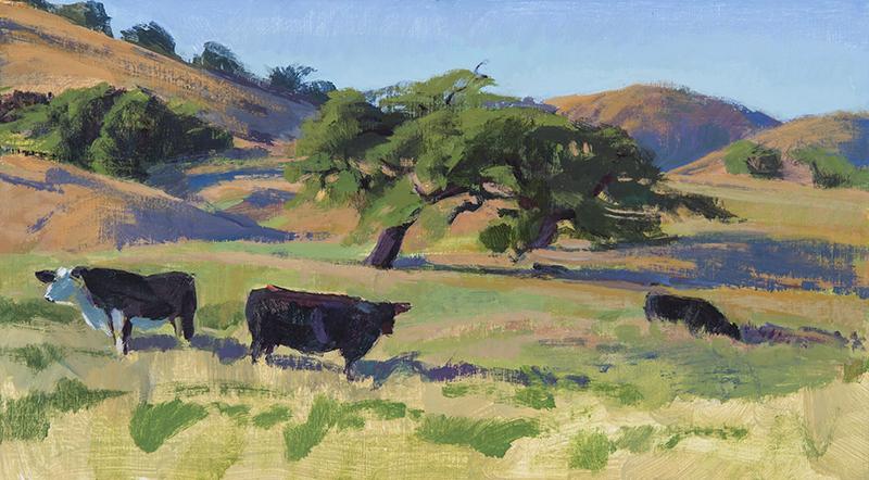"Marcia Burtt, ""Dry Spring Pasture,"" acrylic,10x18 in."