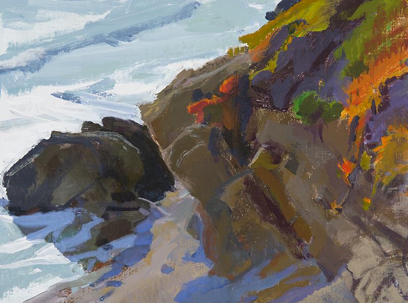 "Marcia Burtt, ""Sun in the West, Otter Cove,"" acrylic, 12x16 in."