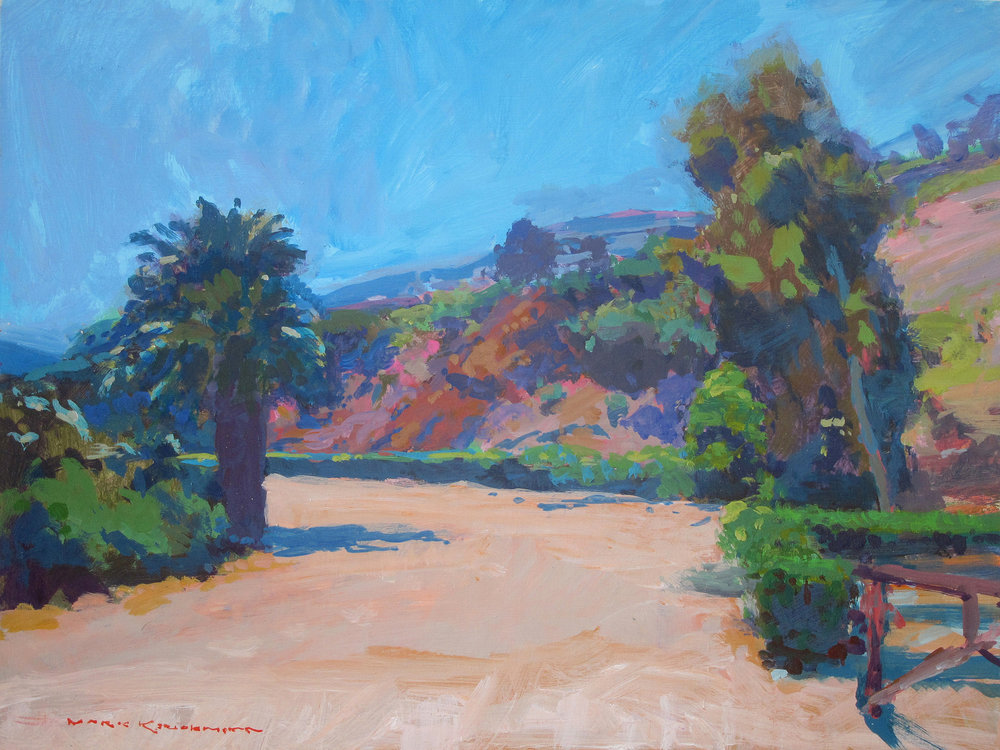 "Mark Kerckhoff, ""Farm Entrance at Aliso Beach, South Laguna,"" oil, 16×20 in."