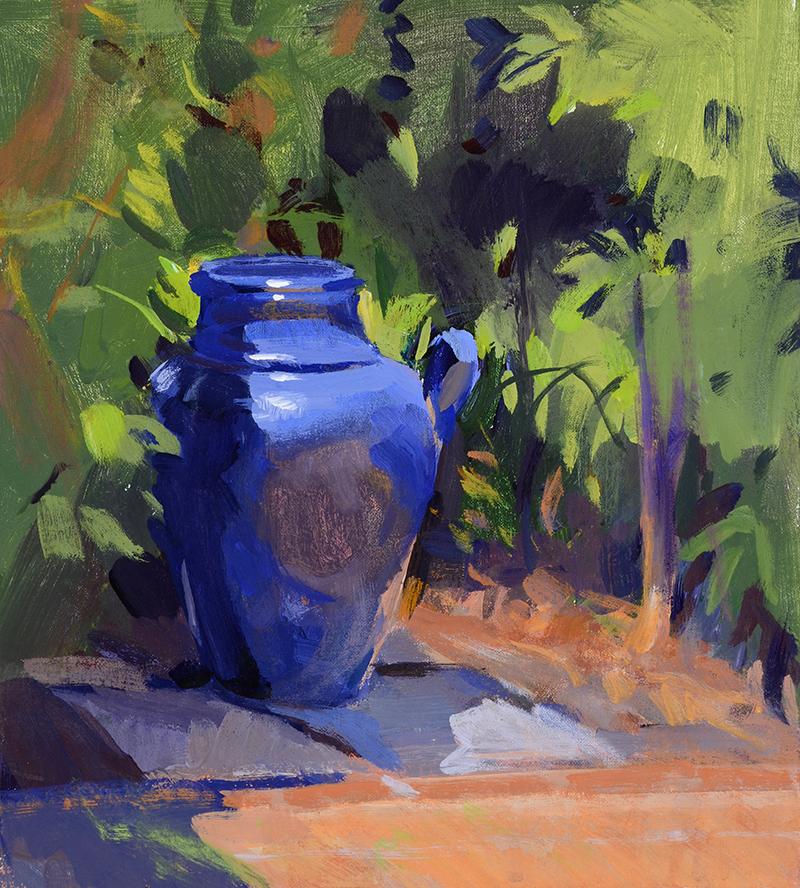 "Marcia Burtt, ""Blue Vase,"" acrylic, 9×10 inches"