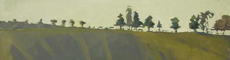 """Robert Abbott, """"Equine Skyline,"""" oil, 7.75×30 inches"""