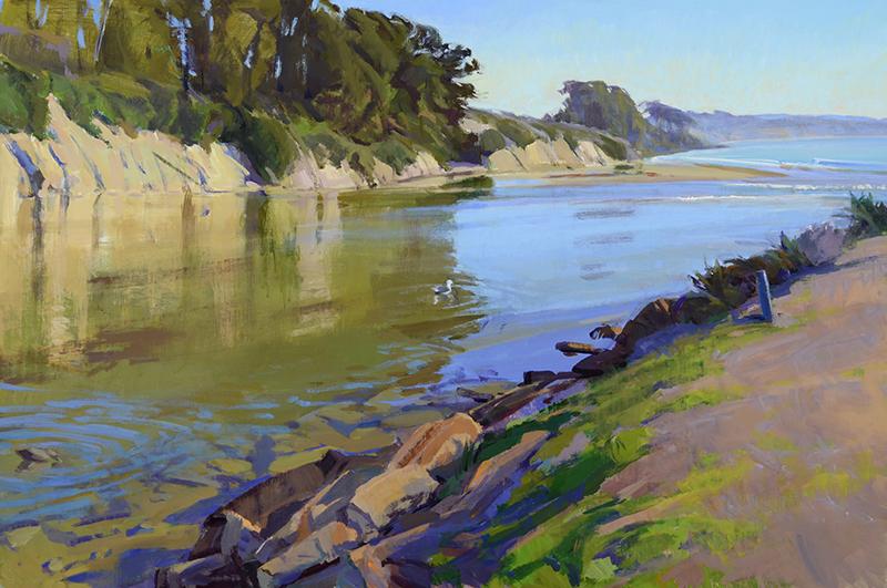 "Marcia Burtt, ""Slack Tide,"" acrylic, 24×36 inches"