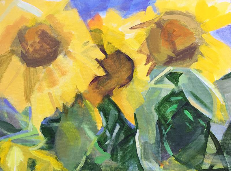Patricia Doyle, S unflowers,  acrylic, 16x20 in.