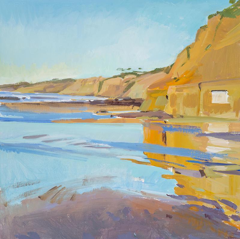 "Marcia Burtt, ""Low Tide, End of Day,"" acrylic, 24x24 in."