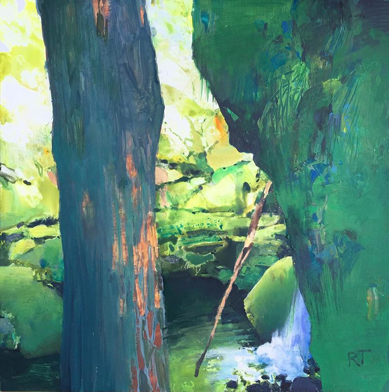 Randall David Tipton,  Falls Creek-North Umpqua Study , watermedia, 12x12 in.