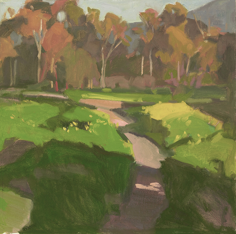 Anne Ward,  Last Light, Ojai , oil, 14x14 in.