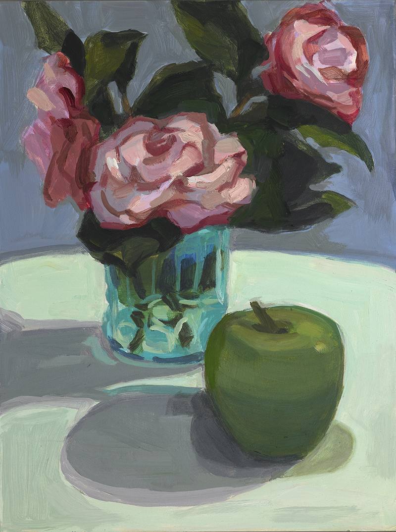Camellias in a Blue Glass