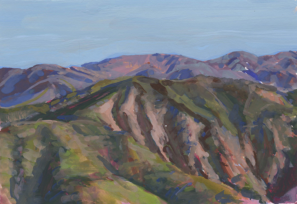 Pamela Zwehl-Burke,  Mountainside from Cielo , gouache, 4.25x6.25 in.