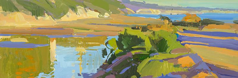 Marcia Burtt,  Looking East, Late Afternoon,  acrylic,   6x18 in.