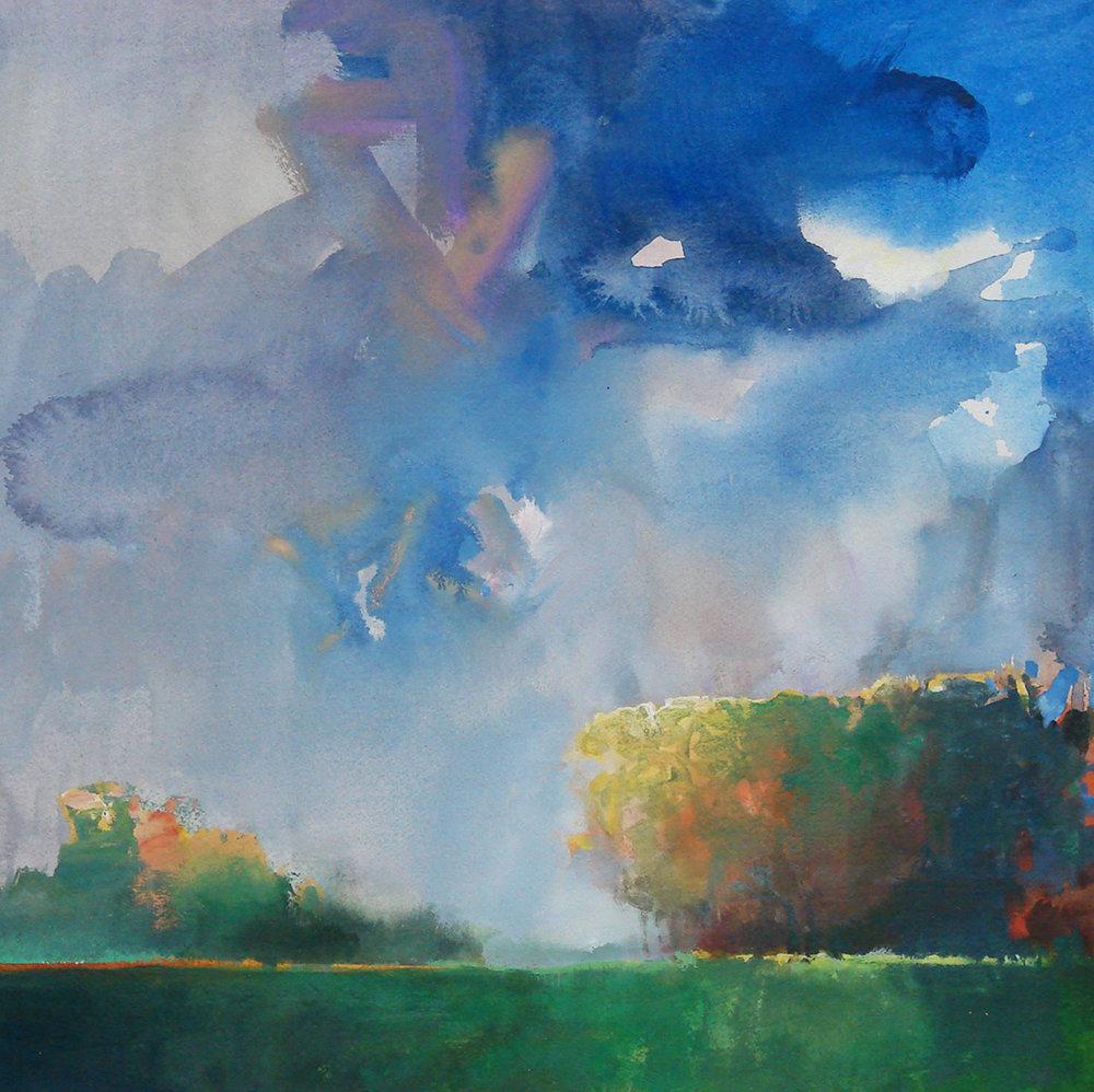 Randall David Tipton,  Sauvie Island Landscape , watermedia on paper, 18x18 in.