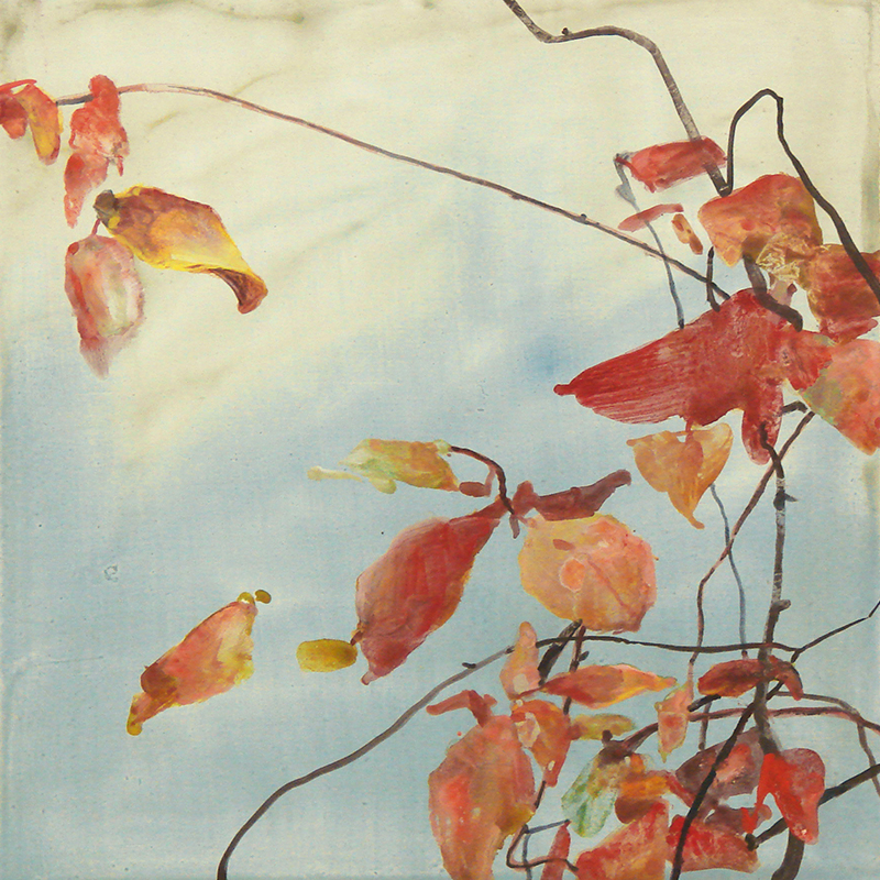 """November Leaves,"" watercolor on Yupo paper, 12x12 in."