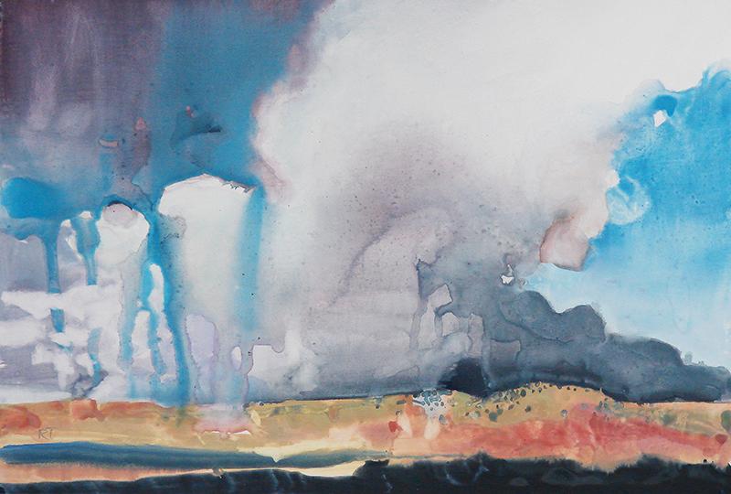 """Southeast Wyoming,"" watercolor on Terraskin paper, 8.5x13.5 in."