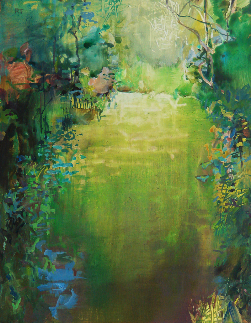 """""""The Flooded Trail 2,"""" watermedia on Yupo paper, 14x11 in."""