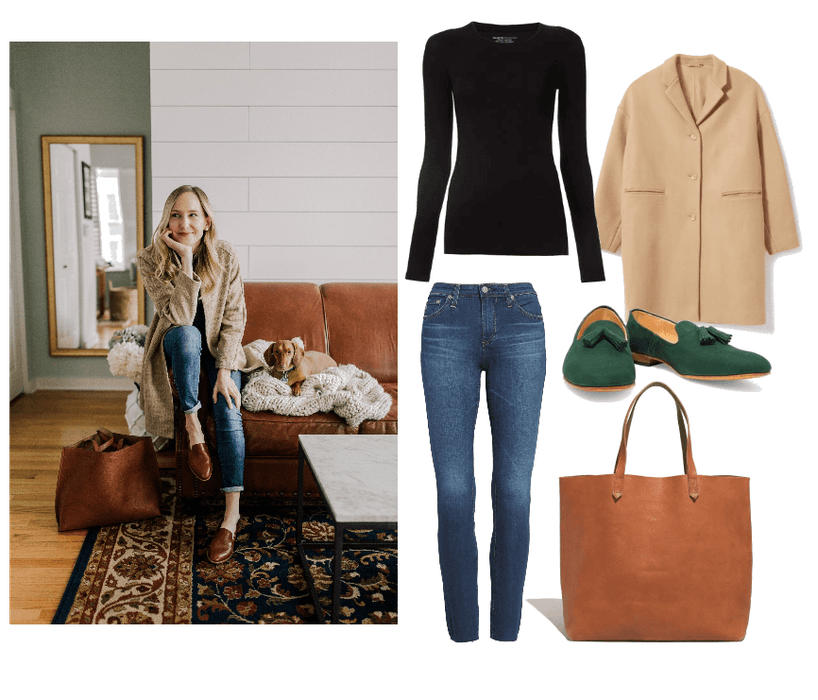 T-Shirt   :  Majestic Filatures, Long Sleeve T, $140 //   Loafers   :  Dieppa Restrepo. Gaston Nubuck Loafers, $162 //   Coat   :  Everlane, Cocoon Coat. $250 //   Tote:   Madewell, The Transport Tote, $168 //   Jeans:   AG, 'The Legging' Ankle Jeans, $235
