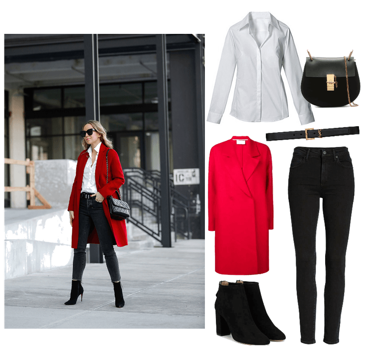 Blouse  : Intermix, Sydney White Button Down Shirt, $158 //   Bag   :  Chloe, Drew Black Leather & Suede Small Saddle Bag, $1300 //   Jeans:   Citizens of Humanity, Rocket Skinny Jeans (Dark Ink), $208//   Belt   :  St. Laurent, Monogramme Belt, $750 //     Coat  : Harris Wharf London, Double Breasted Coat, $371 //   Boots   :  AQUAZZURA, Black Downtown 90 Suede Ankle Boot, $253