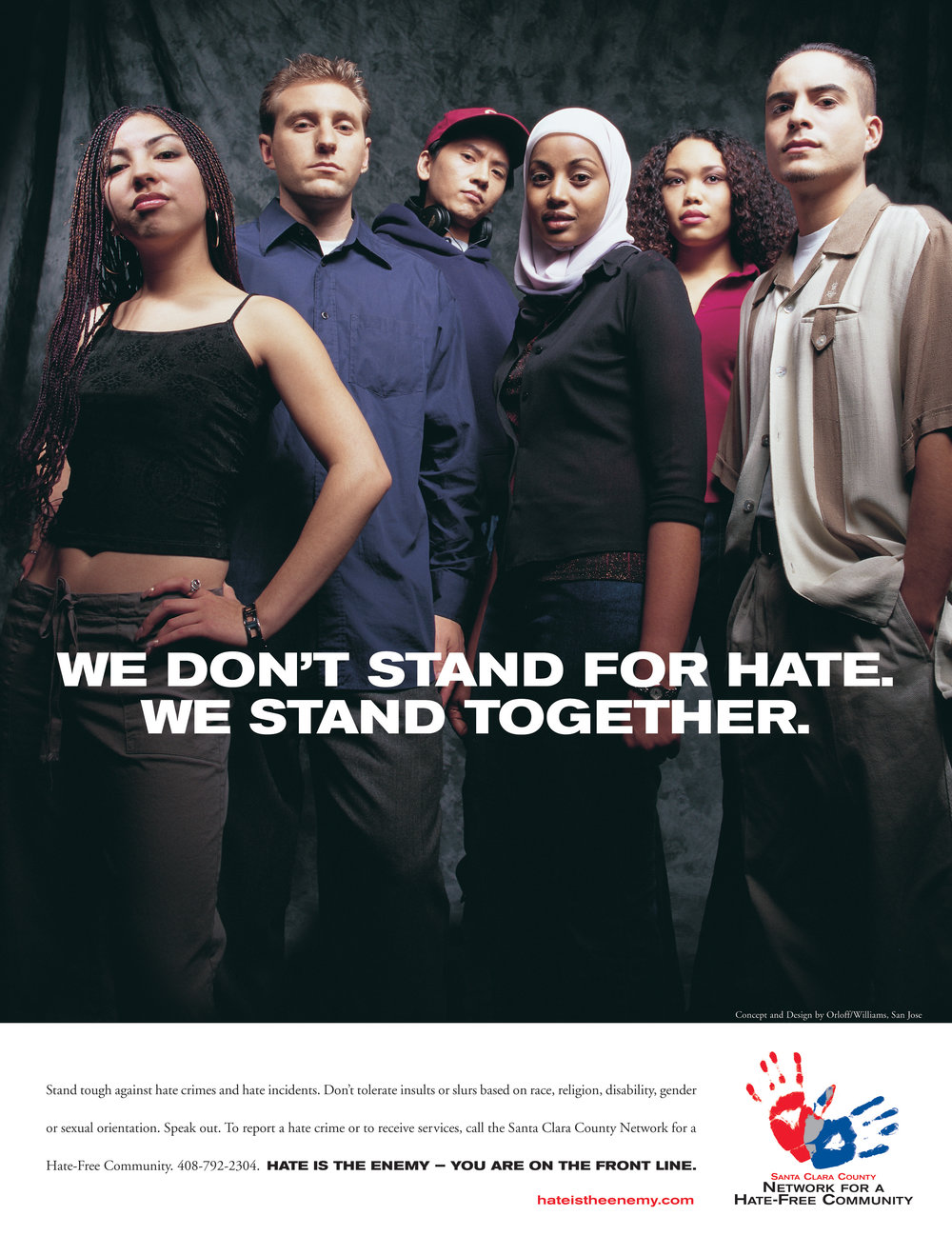 Award Winning Santa Clara County Anti Hate Full page Print Ad