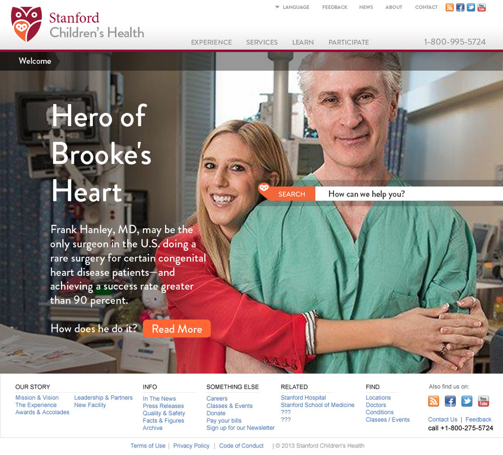 Stanford Children's Health Website Homepage Specialties