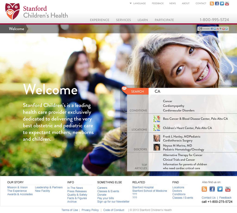 Stanford Children's Health Website Wayfinding