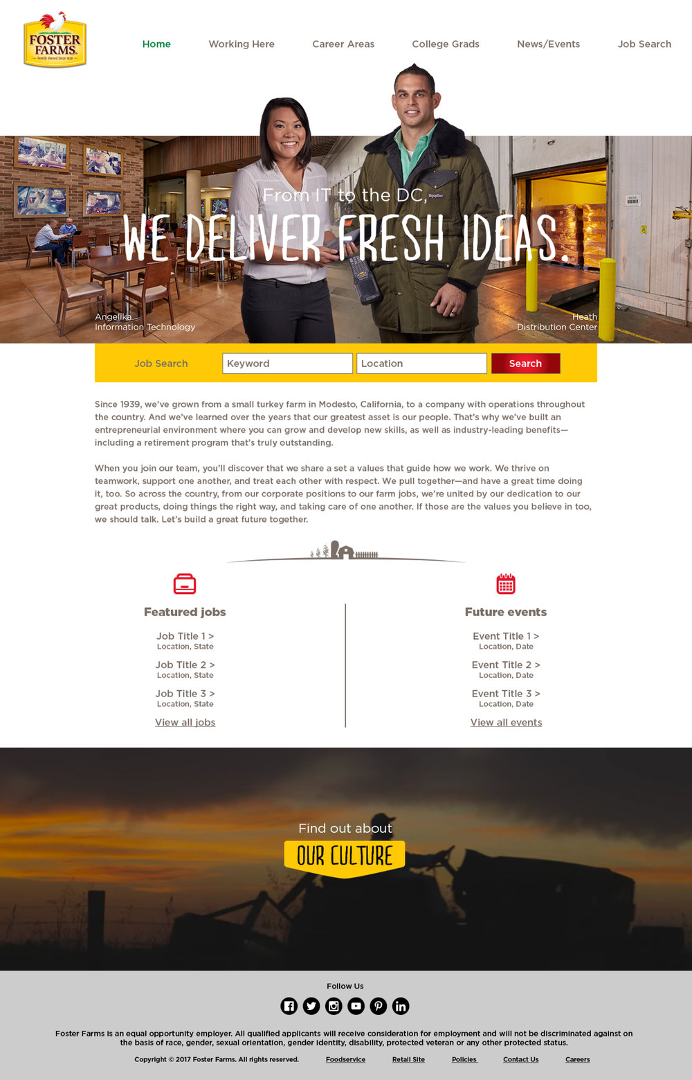 Foster Farms Responsive Design Website Homepage