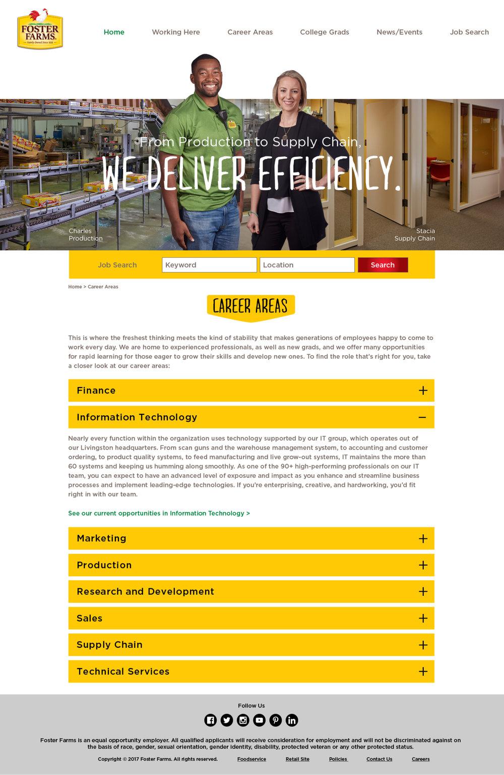 Foster Farms Responsive Website Design for Career Areas