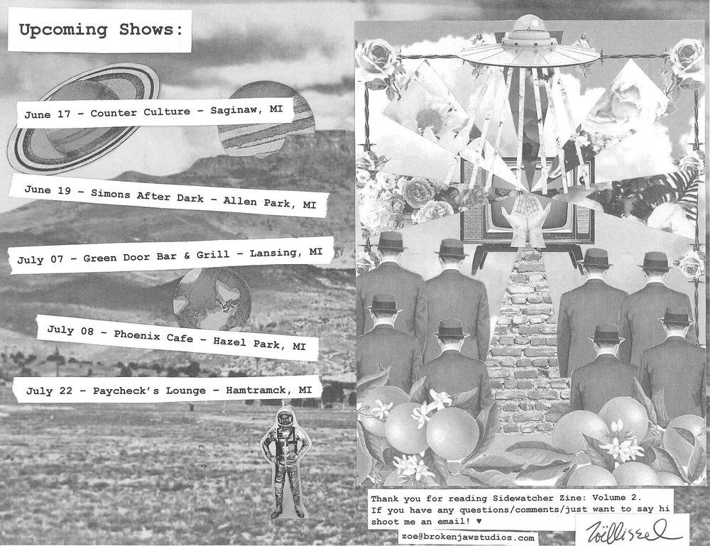 ZOE KISSEL BLOG WRITING MUSIC ON MONDAYS I LISTEN TO SIDEWATCHER ZINE VOLUME 2
