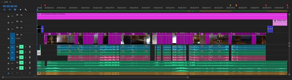 The final edited timeline of  Juice .