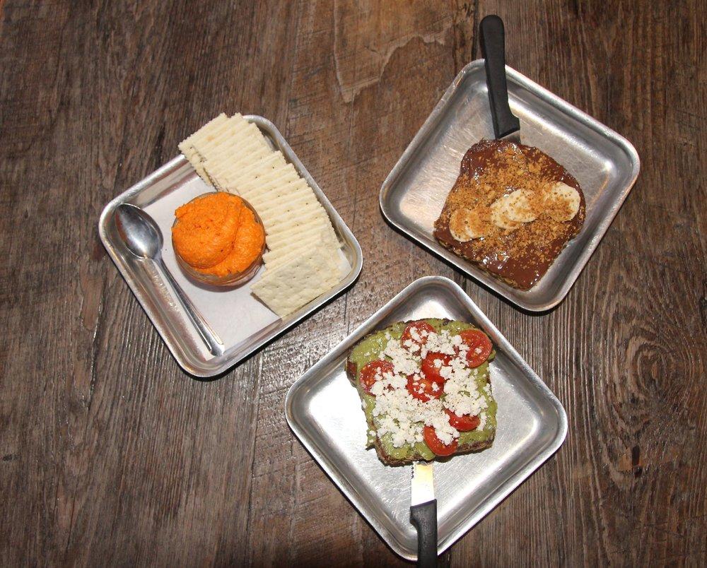 pimento cheese, avocado toast, nutella toast