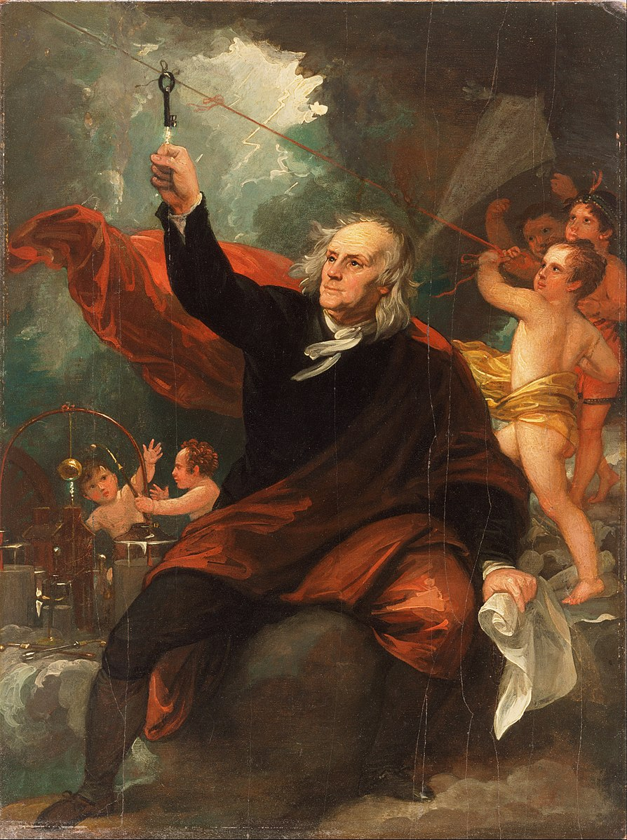Benjamin Franklin drawing electricity from the sky. Painting by Benjamin West