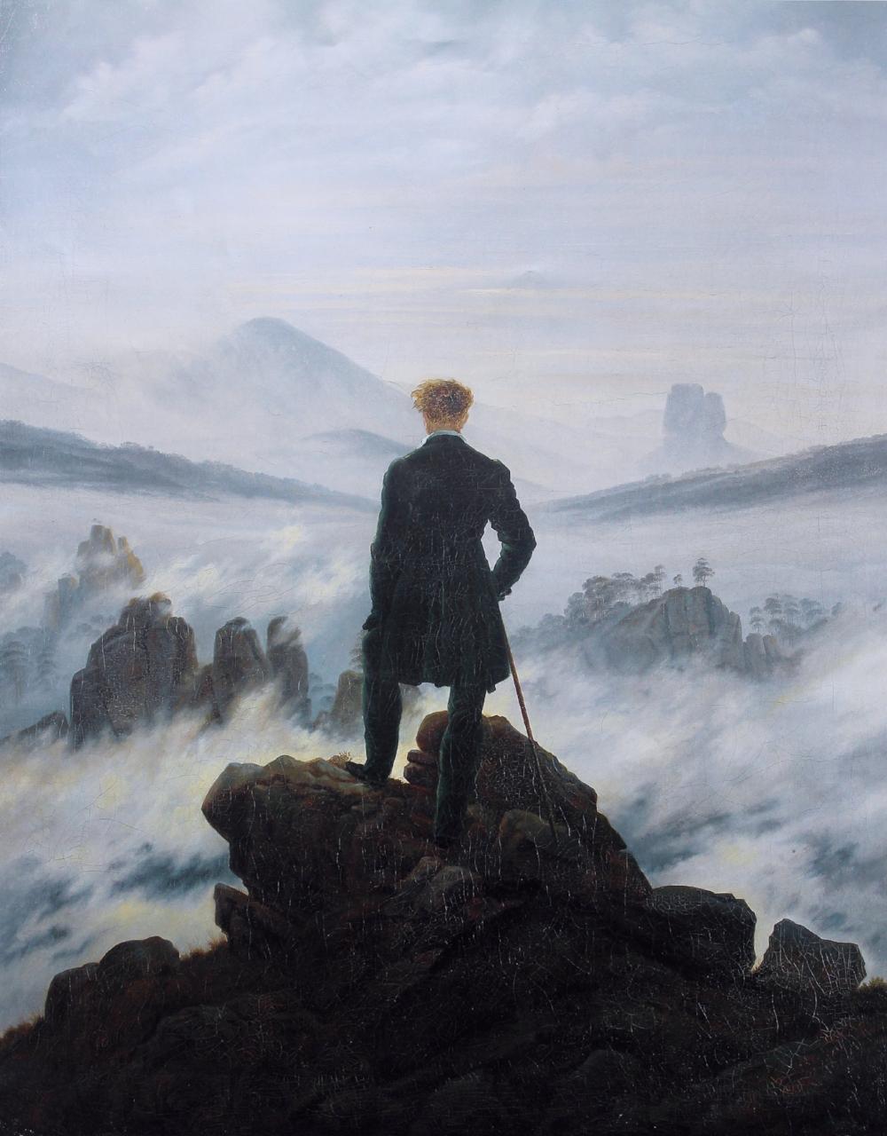 Wanderer above the Sea of Fog . Painting by Caspar David Friedrich
