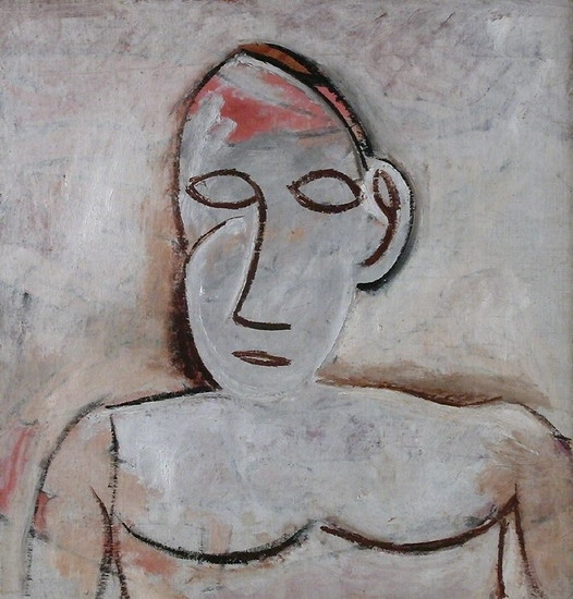 Female bust the big ear. (1907). Painting by Picasso. As we grow older,  our ears and nose sag and appear larger due to a loss of elasticity . Perhaps biological immortality will require we all grow less self-conscious about our facial features (or otherwise turn to plastic surgery en masse).