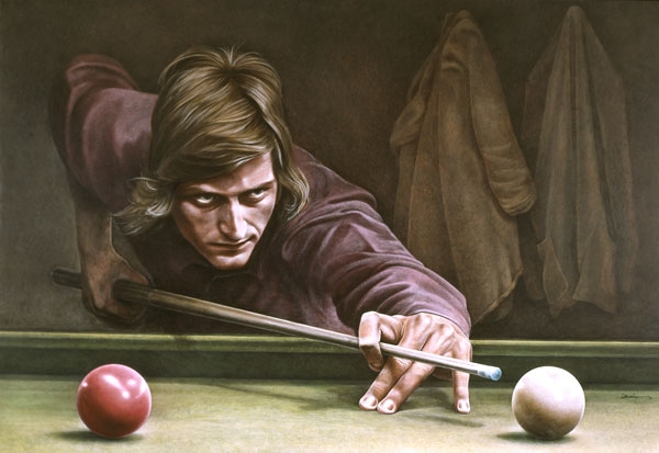 Snooker. Ken Danby. Never a more apt example of determinism. However, the true challenge is to understand why someone is playing billiards in the first place.